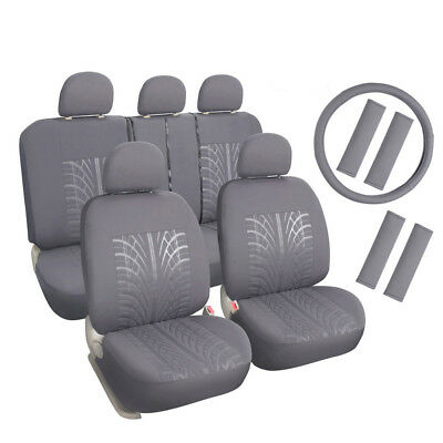 Grey Car Seat Covers Set for Honda Toyota with Headrest,Steering Wheel Cover