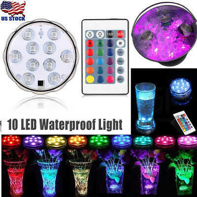 Remote Controlled RGB Submersible LED Lights Color Changing Battery Operated USA](Light Battery Operated)