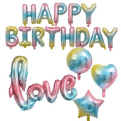 Rainbow Colorful Heart Number LOVE Foil Ballons for Wedding Kids Birthday - Rainbow Birthday