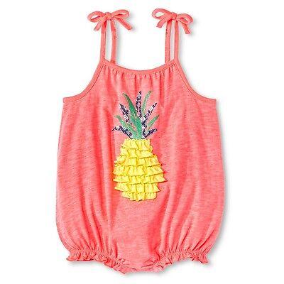 Cherokee Infant Baby Girls' Ruffle Pineapple Retro Pink Summer Beach Romper      ()