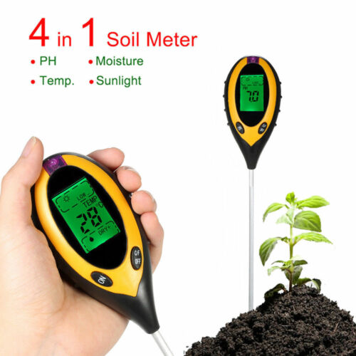 Durable 4 In 1 LCD Moisture Temperature Sunlight PH Garden Soil Tester Meter