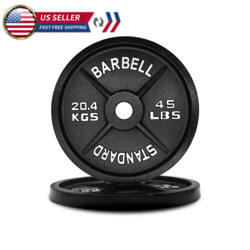 Olympic Barbell Plates 2 inch Solid Cast Iron Weight Plate 25lbs/35lbs/45lbs NEW