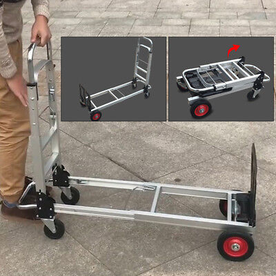 2 In1 Aluminum Hand Truck Convertible Folding Dolly Platform Cart 1074089cm Hq