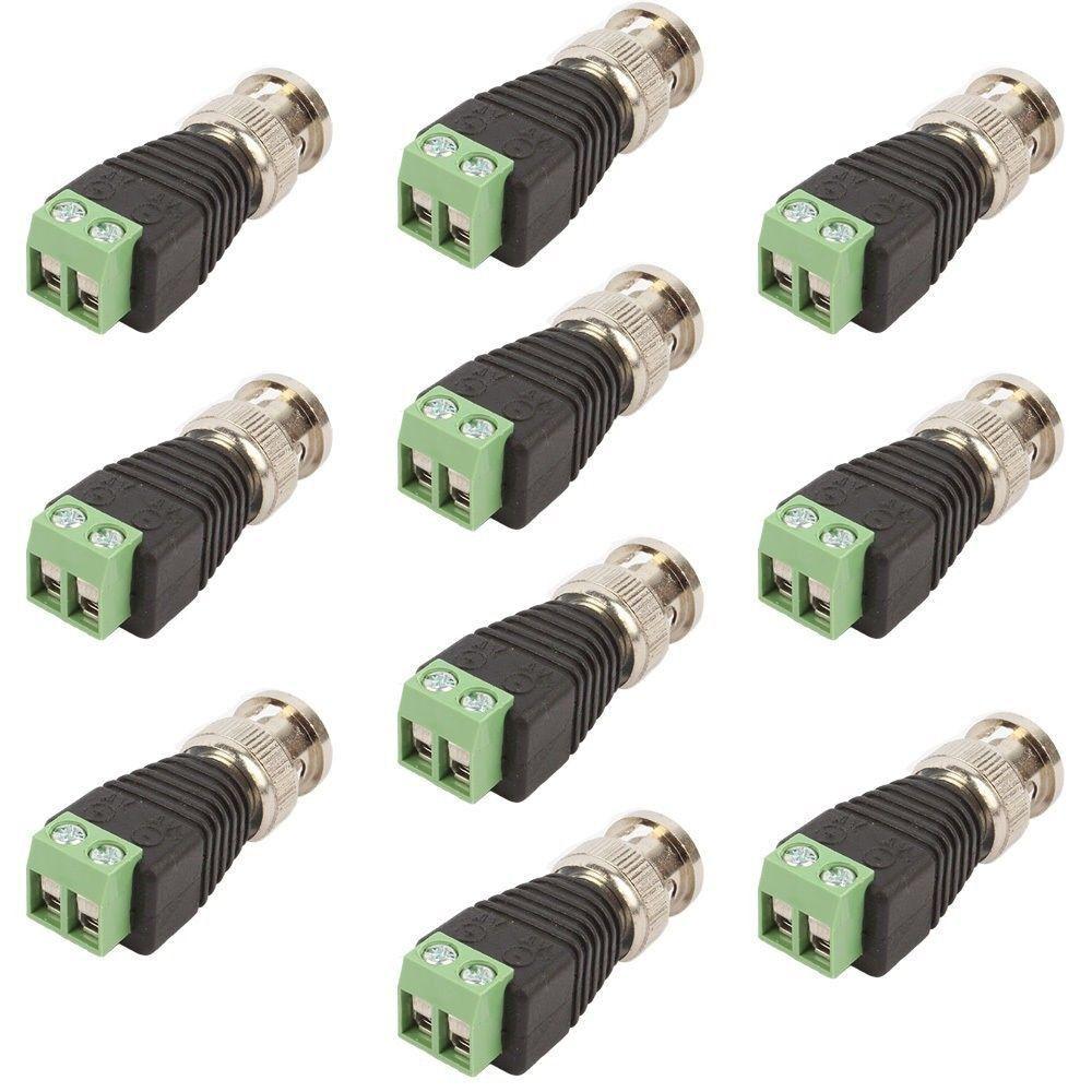 10 Pcs Coax Cat5/Cat6 To Camera CCTV BNC Video Balun Coaxial Connector Screw New