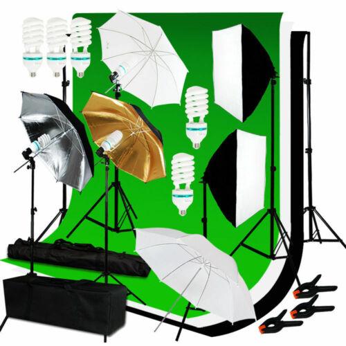 Studio Backdrop Photography Softbox Umbrella Lighting Kit Background Stand Set