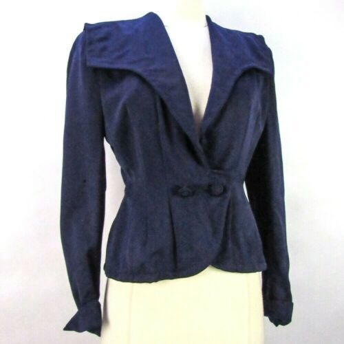Vintage 40s Gabardine Tailored Blazer Jacket S/M Structured Peplum Navy Sailor