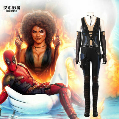 Deadpool 2 Domino Cosplay Costume Leather Full Suit no shoes