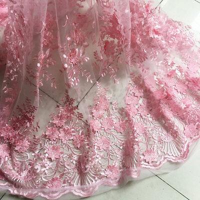 Rosa Blüte Hochzeits Kleid DIY Tüll Stickerei Blumen Braut Spitze Stoff 0.5 M (Diy Tüll Blumen)