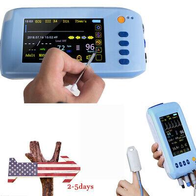 5.5 Touchable Portable Vital Sign Monitor Cardiac Ecg Nibp Spo2 Pr Temp Fda Ce