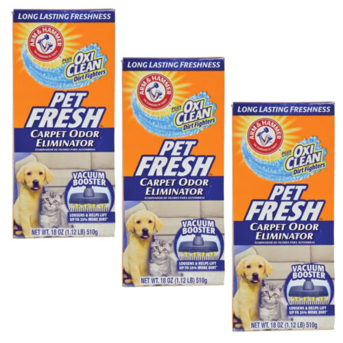 3 18 oz. Arm and Hammer Pet Fresh Carpet 510g Odor Eliminator Plus Oxi Clean