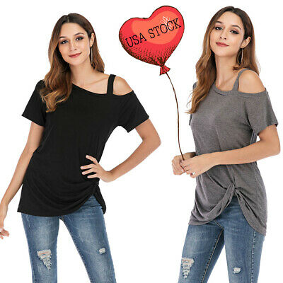 Womens Side Twist Knotted Tops Casual Tunic Off Shoulder T Shirts Short Sleeve Super Braid Knots