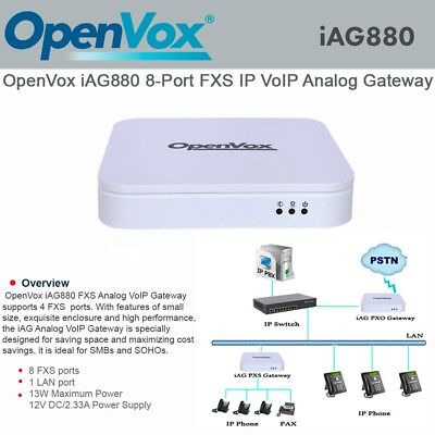 OpenVox iAG880 8 Port FXS IP VoIP Analog Telephone Gateway