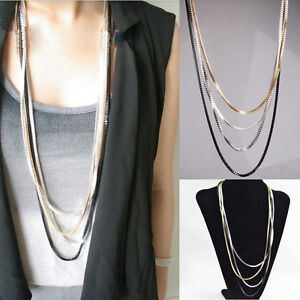 New Korean Multi-Color Snake Chain Multilayer Tassel Long Sweater Chain Necklace