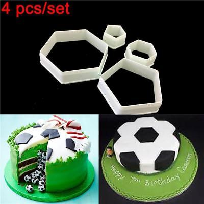 4 Pcs/set Cake Mold Soccer Shape Print Plunger Football Cookie Cutter Tool QK