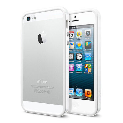 - iPhone 5 Solid White Bumper Case w/ Metal Buttons TPU w/ Rubber Apple OEM Style