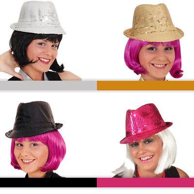 Paillettenhut Disco, versch. Farben, glitzernder Hut als ideales Kostümzubehör