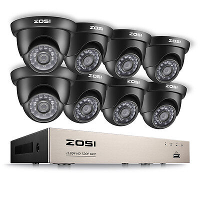 ZOSI 720P Outdoor Dome Home Surveillance Security Camera System HD 8CH HDMI DVR Dome Outdoor Security System