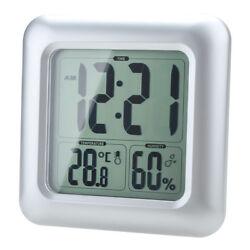 Digital Suction Waterproof Wall Clock Vacuum Thermometer Hygrometer Bathroom
