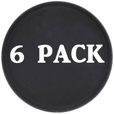 "6 PACK 16"" Black Round Non-Skid Plastic Restaurant Bar Serving Commercial Tray"
