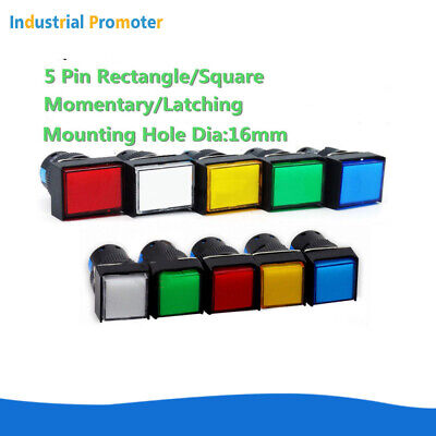 510pcs 16mm Dc 512v 5pin Self-resetlocking Square Cap Led Push Button Switch
