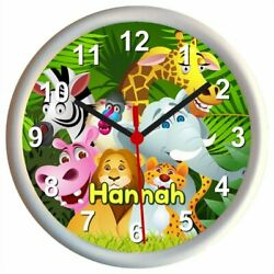 Personalised JUNGLE ANIMALS Childrens Bedroom Wall Clock
