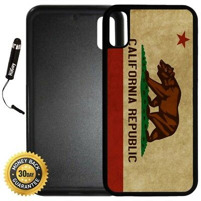 Case for iPhone X 10 8 8 Plus + Galaxy Note 8 LG G6-California Flag Vintage Look
