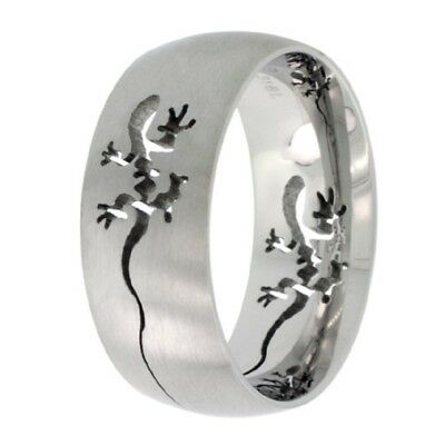 Steel Cut Out Lizard - Stainless Steel Tribal Gecko Lizard Cut-Out Wedding Band Ring, Comfort Fit