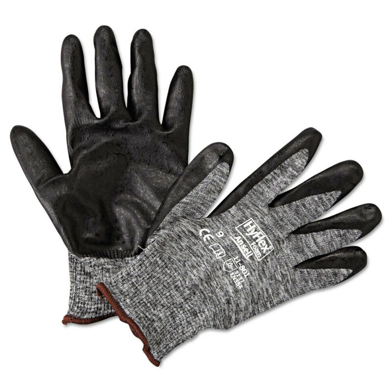 AnsellPro 118019 HyFlex LD Foam Gloves - Size 9, BLK/GRY (12 Pairs) New