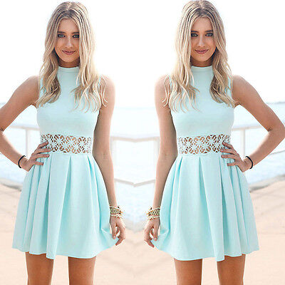 New Fashion Women Lace Sleeveless Cocktail Evening Party Beach Casual Mini Dress