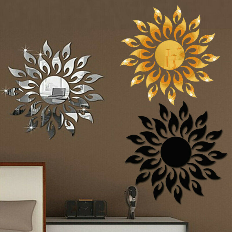 Home Decoration - 3D Mirror Sun Decal Art Wall Sticker Self-adhesive Acrylic Home Bedroom Decor