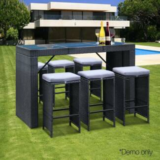 7-Piece Outdoor Bar Table and Stools Set