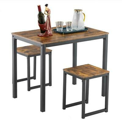 3 Piece MDF Metal Dining Table Set 2 Chairs Bench Kitchen Dining Room Breakfast