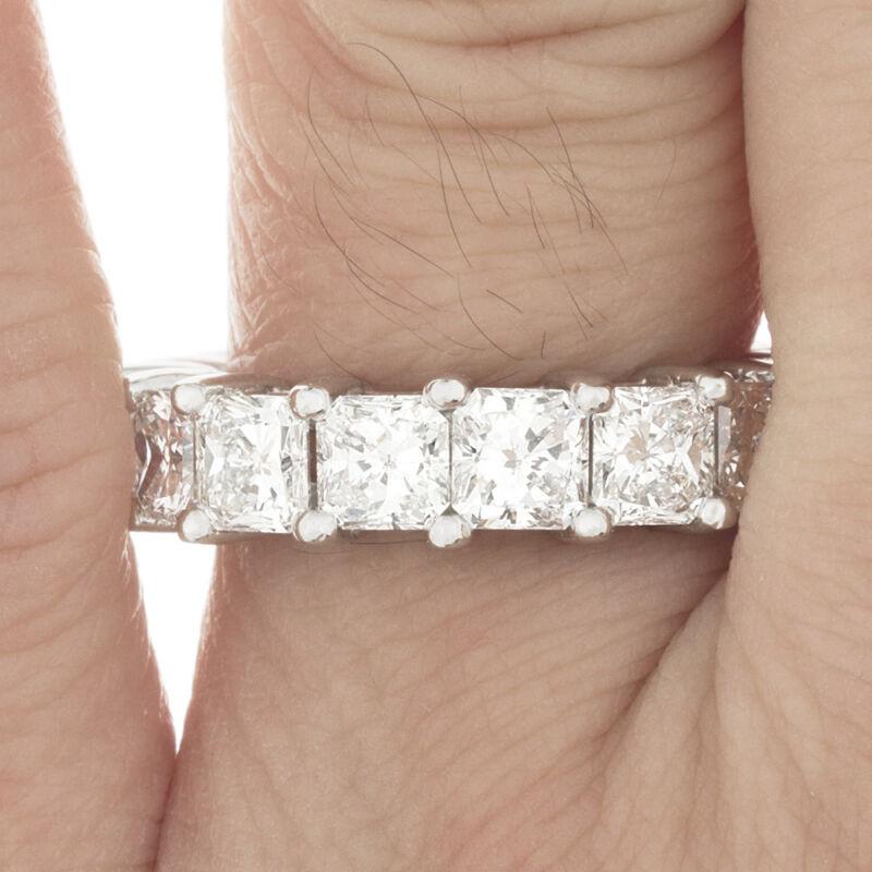 Diamond Eternity Ring Prong Set 10.00 Carat Radiant Cut 14k Gold