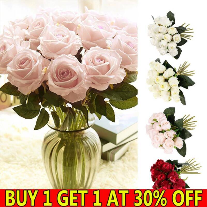 Home Decoration - 18Heads Silk Rose Artificial Fake Flowers Bunch Bouquet Home Wedding Party Decor