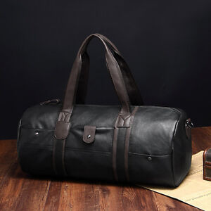 Men Leather Vintage Travel Gym Bag Weekend Overnight Bag Duffle Shoulder  Handbag 19a1b6ab4e849