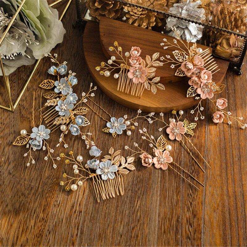 Fashion Flower Hair Combs Gold Leaves Hair Pins Headdress Pr