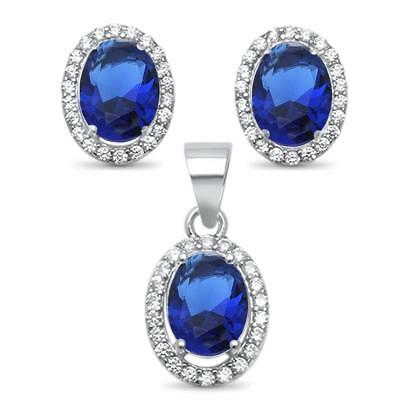 Oval Blue Sapphire & Cubic Zirconia Halo Style .925 Sterling Silver Earrings