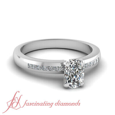 .70 Ct Channel Set Princess Diamond Engagement Rings With Cushion Cut Center GIA