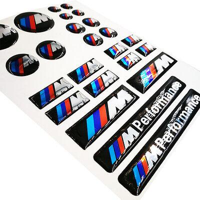 26 Ps Set Decal M Performance Badge Interior & Wheel Sticker Emblem Fits For BMW