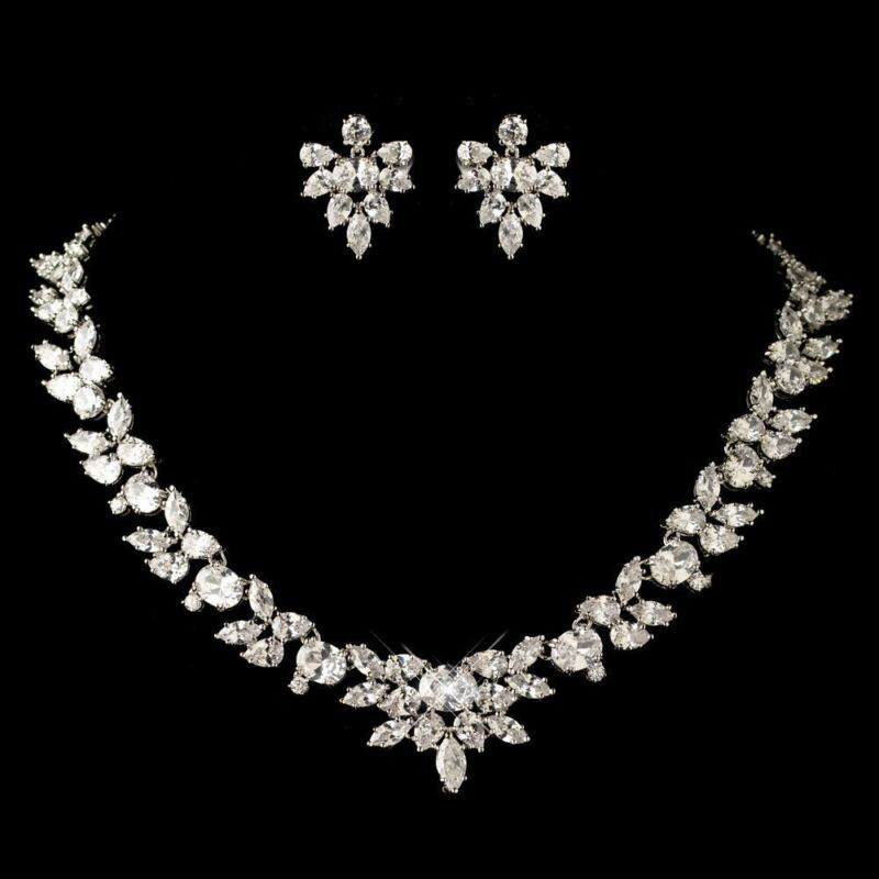 Bridal Wedding Sliver Marquise & Oval CZ Crystal Necklace & Earrings Jewelry Set