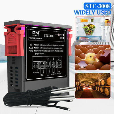 Stc-3008 12v 24v 110v-220v Dual Led Thermostat  Probe Temperature Controller