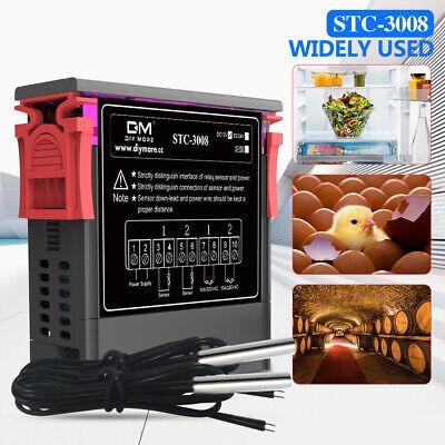 Stc-3008 12v 24v 110v-220v Dual Led Thermostat  Probe Temperature Controller