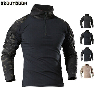 Army Military Mens T-Shirt Combat Tactical Long Sleeve Casual Shirt Camouflage