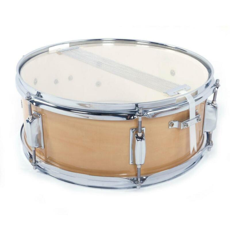 """Snare Drum 14"""" x 5.5"""" Poplar Wood & Metal Shell Percussion Wood Color"""