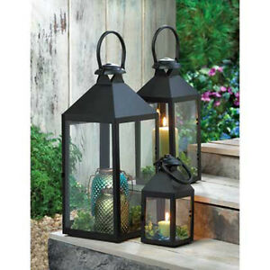 Revere-Black-Metal-Pillar-Candle-LANTERN-Candleholder-Clear-Glass