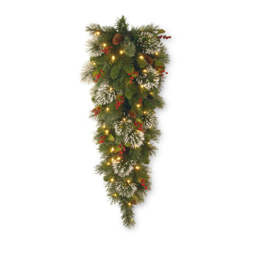 McLeland Wintry Pine Slim Teardrop Swag Holiday Decoration Christmas Tree 4 ft