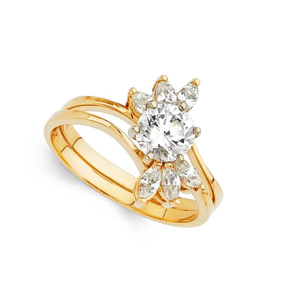 Round Cz Engagement Ring Wedding Band 14k Yellow Gold Bridal
