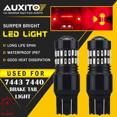 2X 7443 Flash Strobe Blinking Alert Safety Brake Tail Stop Light LED RED Bulb (Red Marker Turn Signal Bulbs)