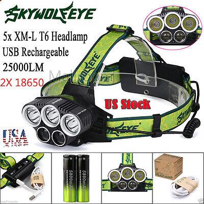 25000LM 5x XM-L T6 Headlamp Headlight LED Rechargeable USB+2x 18650 US Stock