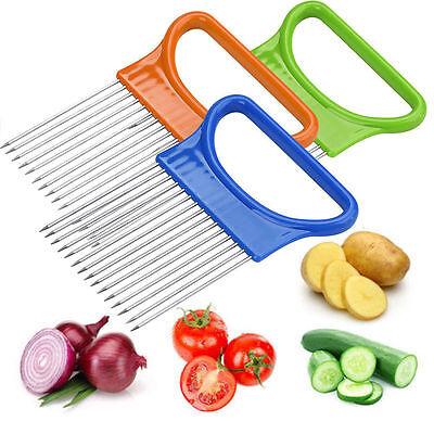 Onion Holder Easy Slicer Cutter Slice Potato Veg Kitchen Hand Held Tool White